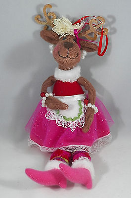 Jingleville Reindeer in Dress Christmas Tree Ornament new holiday