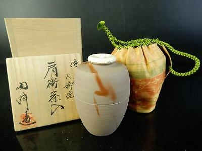 H1572: Japanese Bizen-ware TEA CADDY Kimura Toho made w/signed box