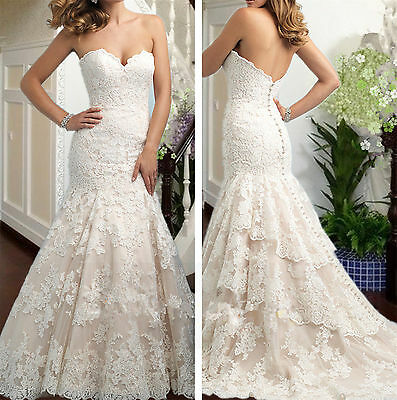 New White/ivory Mermaid Wedding dress Bridal Gown custom size 4 6-8-10-12-14-16