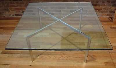 AUTHENTIC KNOLL BARCELONA COFFEE TABLE glass stainless steel mid century modern