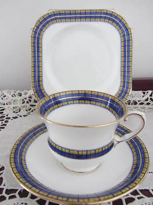 ''aynsley'' - ''cobolt Blue & Yellow''  Trim - Cup / Saucer Plate Trio