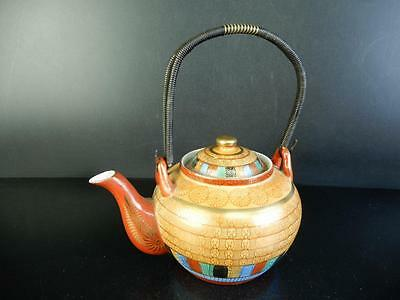 H1522: Japanese Old Kutani-ware Colored porcelain Flower pattern TEAPOT Kyusu