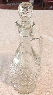 Vintage Pressed Glass Decanter, Diamond Cut Design, with Handle & Stopper