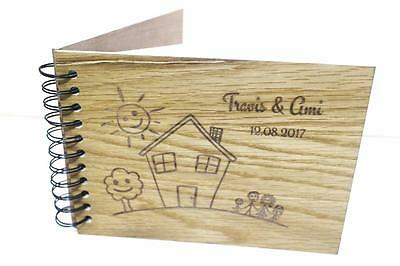 Wooden timber book engraved photo album alternetive family outdoor activities a4