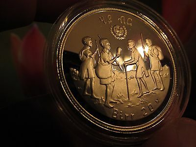 Year Of The Child 1979 Ethiopia 20 Birr, Rare Gem Proof Low Mintage Silver Crown