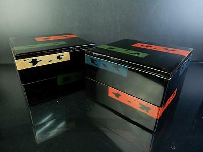 H1045:Japanese Wooden Lacquer ware Negoro pattern FOOD BOXES Jubako Lunch Box