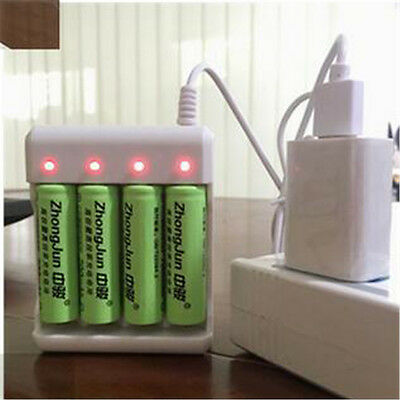 AA/AAA Nicad Nimh White USB 4 Slots Intelligent rechargeable Battery Charger