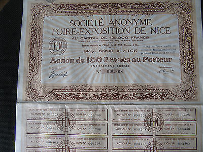 Action Foire-Expo Nice 1250ex 1931 Rare Alpes maritimes