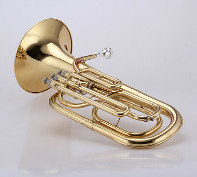 Piston valve Baritone Gold lacquer Brass body Stainless steel Valves