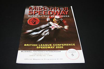 MILDENHALL v PETERBOROUGH CONFERENCE LEAGUE SPEEDWAY PROGRAMME 26/5/2002