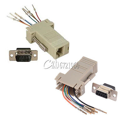 DB9 Male/Female RS232 Plug Connector to RJ45 Female Buchse Ethernet Adapter