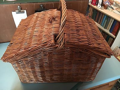 Vintage Whicker Picnic Basket With Three Bottle Holes & 2 Lids - Handles - Vgc