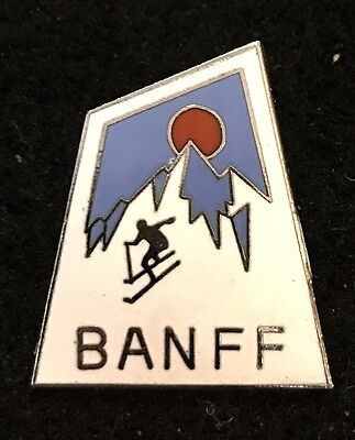 BANFF Vintage Skiing Pin Vernon CANADA Resort Souvenir Travel Lapel