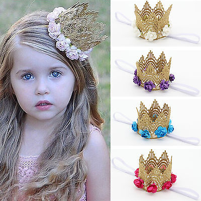 Kids Girls Baby Princess Flower Crown Party Birthday Headband Hair Band Headwear