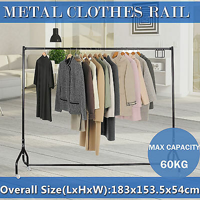 6FT Clothes Rack Metal Garment Display Rolling Portable Rail Hanger Dryer Stand