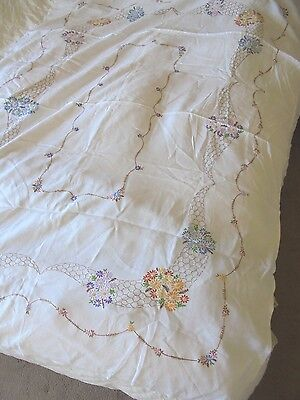 """Vintage White Linen Tablecloth  Floral Hand Embroidery OBLONG 67""""X 49 """" LOVELY"""
