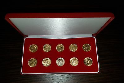 10 X 22ct  Gold  Half Sovereigns 1905 to 1914