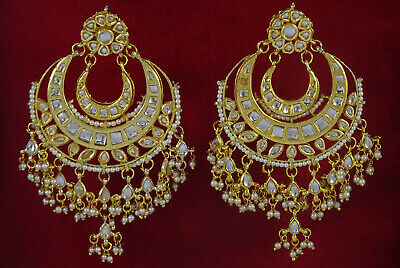 Goldtone Indian Ethnic Drop Dangle Earring Set Wedding Party Jewelry-BSE344A