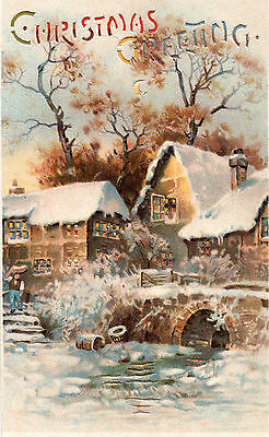 Postcard Christmas Greeting  Hold To Light   Upright Rural Scene