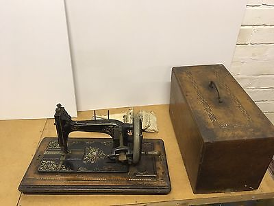 Vintage Gritzner Sewing Machine With Instructions. Old Hand Crank.