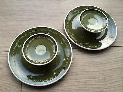 SUSIE COOPER 1950s Mid Century Candle Holders Green Star Burst & Original Boxes