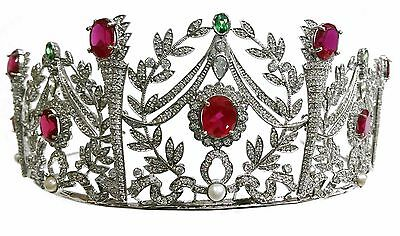 Exclusively Made Sterling Silver Tiara Studded With Red Green and White Zircons