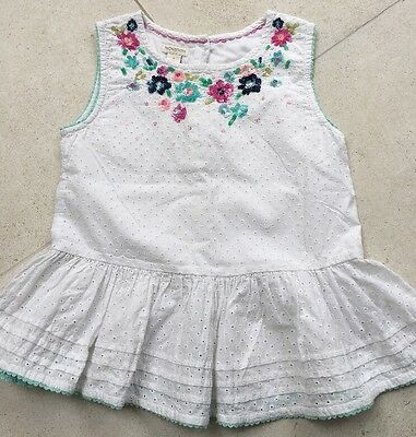 Girls Monsoon White Boucile Top With Sequins - Age 9 Yrs