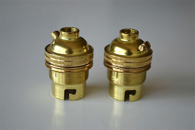2 brass bayonet fitting bulb holders B22 earthed UK made 10mm entry L2