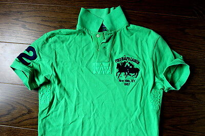 Authentic Green  Polo Shirt Polo By Ralph Lauren Racing New York Size (S)