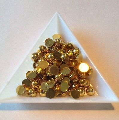 100 x 6mm Flat Back Half Round GOLD Resin Pearls Crafts scrap booking Card