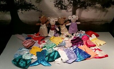angelina ballerina bundle 4 mice soft toys and collection of clothes outfits