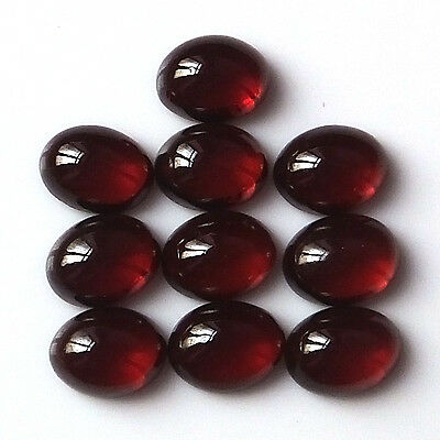 8X6 MM Oval Cut Natural Unheated African Red Garnet Cabochon 10 Pieces Stone Lot