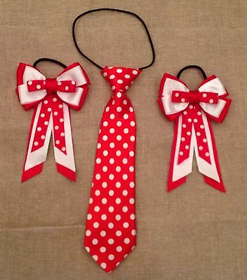 Childs Equestrian Showing Set, Show Tie And Bows RED AND WHITE SPOT - Lead Rein