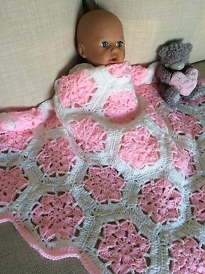 Hand made crochet baby blanket - grannie squares -pink and white