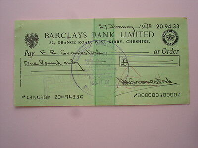 1 x 1970 Used Cheque: Barclays Bank, WEST KIRBY, WIRRAL, CHESHIRE (20-94-33)