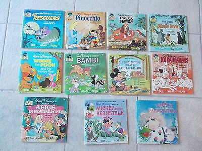 Vintage Disney See Hear Read Book and Records. Set of 10 + 1 Muppet