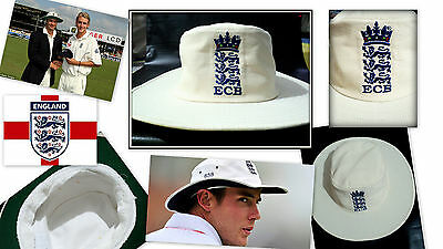 ENGLAND TEST SUNHAT ECB Embroided~Wide Brim~Towel SweatBand Best Gift Ever