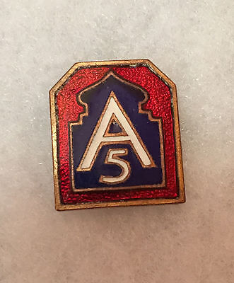 US Army Die Crest  5th army pin back