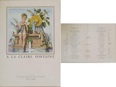 MENU PARTITION - FRENCH LINE - SS FLANDRE- FIRST CLASS- ill. J. A. MERCIER 1955