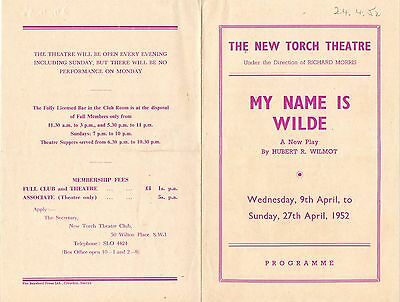 1952 Programme. The New Torch Theatre, London.. My Name is Wild. Hubert R Wilmot