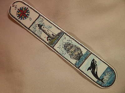Scrimshaw Resin Book Mark Color Compass Rose- Ship- Lt.- House - Orca Whale