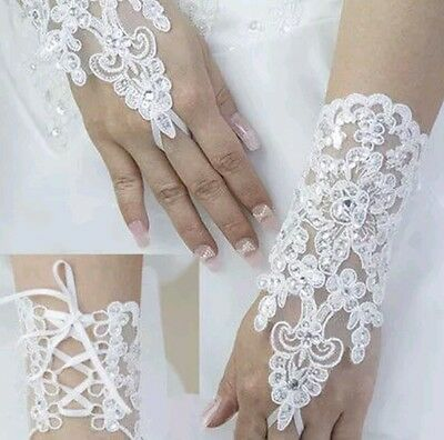 Wedding Lace Ivory Fingerless Short Rhinestone Sequin Bridal Gloves