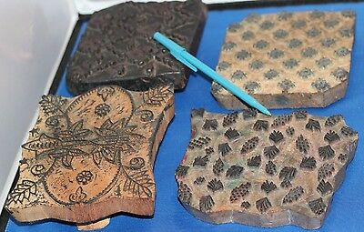 Vintage LOT OF 4 Hand Carved TEXTILE/Fabric STAMPS Block Print