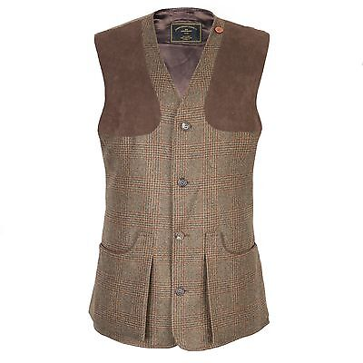 "Purdey Brown Tweed ""Woodward"" Alcantara Patch Shooting Vest Made In England"