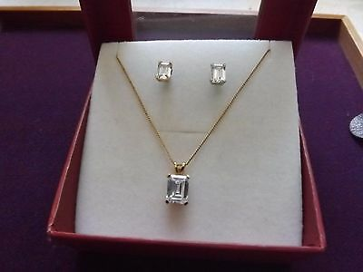 925 Stamped Silver & Gold Plated CZ Necklace & Earrings Set Supplied Boxed