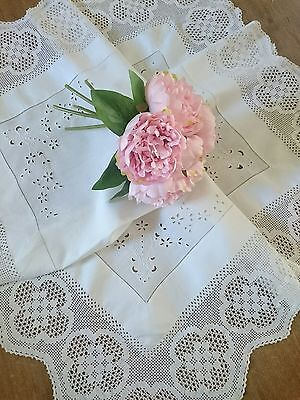 Exquisite Antique Hand Embroidered Linen Tablecloth ~ White Work Crochet Lace