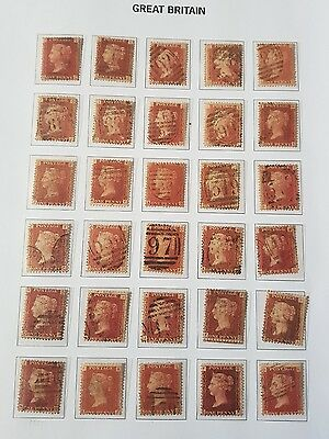 Gb Stamps  Queen Victoria Sg 43's 1D Red Pls 161 To 190 Used (3)