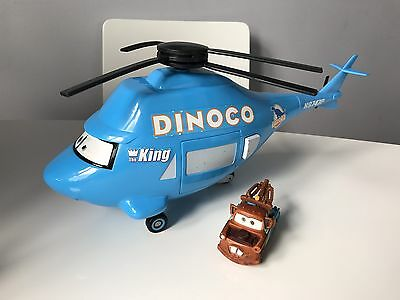 Rare Disney Pixar Blue Cars Dinoco Talking Helicopter With Tow Mater