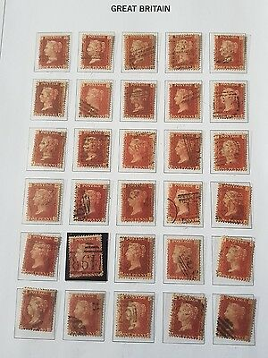 Gb Stamps  Queen Victoria Sg 43's 1D Red Pls Used Joblot (5)