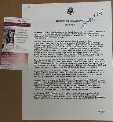 Biography of Gerald R Ford March 1999 Autograph Signed with JSA